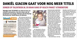 De Telegraaf 15-11-2016 Telesport Talent Talentboek