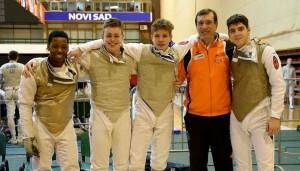 EJK Novi Sad 3-3-2016 Equipe Cadetten Quincy Dualeh, Olivier Split, Edo Zoons, coach Andrea Borella
