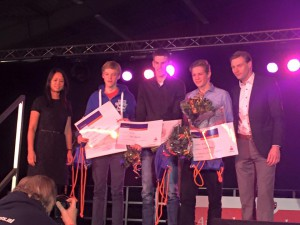 Kampioenenhuldiging Amstelveen januari 2016 podium jongens