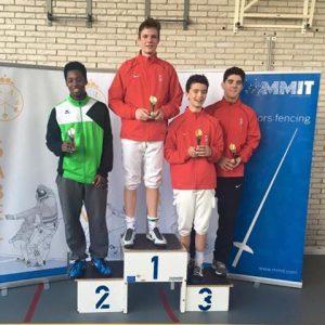 Podium NJK floret cadetten 23-4-2016 in Breda met Quincy Dualeh (2), Edo Zoons en Axel Zoons (3)