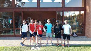 Nederlandse Junioren in Formia (Edo Zoons, Olivier Split, Olivier de Jong, Julian Fens, Dani:el Giacon, trainer Jeroen Divendal en Job de Ruiter