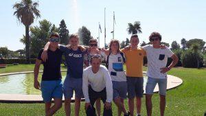 Team Junioren voor trainingsstage met Azzurrini: Edo Zoons, Julian Fens, Job de Ruiter, Olivier Split en Olivier de Jong met coach Jeroen Divendal