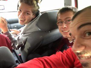 U23 Esslingen 19-11-2016 reis met Patrick Poste, Daniël Nivard en Timon Hagen (achter het stuur)